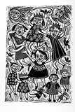 Artist: HANRAHAN, Barbara | Title: Girls at play | Date: 1988 | Technique: linocut, printed in black ink, from one block