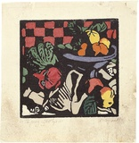 Artist: PRESTON, Margaret | Title: Still life, check | Date: 1925 | Technique: woodcut, printed in black ink, from one block; hand-coloured | Copyright: © Margaret Preston. Licensed by VISCOPY, Australia