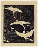 Artist: BLACKBURN, Vera | Title: Lake of swans. | Date: 1935, July | Technique: linocut, printed in black ink, from one block | Copyright: © Vera Blackburn