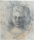 Title: Face of an Apsara | Date: 2001 | Technique: softground-etching, printed in blue/black ink, from one plate; hand-coloured