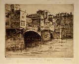 Artist: ASHTON, Will | Title: Ponte Vecchio, Florence | Date: c.1930 | Technique: etching, printed in brown ink, from one plate