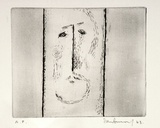 Artist: BURN, Ian | Title: (Face with lines). | Date: 1963 | Technique: etching, printed in black ink with plate-tone, from one plate