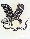 Artist: TUNGUTALUM, Bede | Title: Eagle and snake | Date: 1970 | Technique: woodcut, printed in black ink, from one block