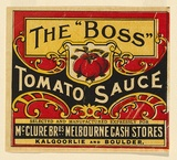 Artist: UNKNOWN | Title: Label: The 'Boss', tomato sauce | Date: c.1920 | Technique: lithograph, printed in colour, from multiple stones [or plates]