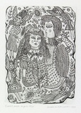 Artist: HANRAHAN, Barbara | Title: Lovers with angels | Date: 1990 | Technique: etching and drypoint, printed in black ink with plate-tone, from one plate