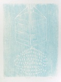 Artist: BUCKLEY, Sue | Title: Rain maker. | Date: 1972 | Technique: woodcut, printed in blue ink, from one block | Copyright: This work appears on screen courtesy of Sue Buckley and her sister Jean Hanrahan