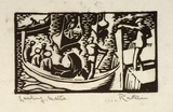 Artist: HAWKINS, Weaver | Title: Landing, Malta. | Date: c.1927 | Technique: woodcut, printed in black ink, from one block | Copyright: The Estate of H.F Weaver Hawkins