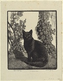 Artist: LINDSAY, Lionel | Title: The black cat | Date: 1922 | Technique: wood-engraving, printed in black ink, from one block; touched with brush and black ink | Copyright: Courtesy of the National Library of Australia