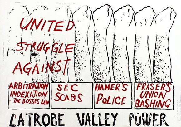 Artist: WONDERFUL ART NUANCES CLUB | Title: La Trobe Valley power. (Poster supporting SEC maintenance workers' strike, La Trobe Valley, Victoria, 1977). | Date: (1977) | Technique: screenprint, printed in colour, from two stencils