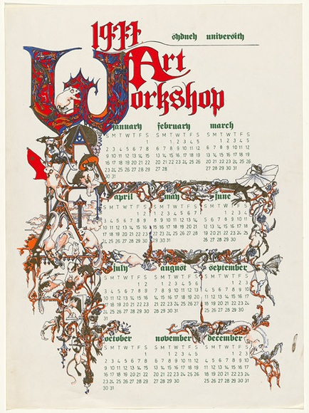 1978 Calendar September.1978 Art Workshop Calendar 1977 By Toni Robertson 1953