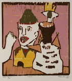Artist: RANDELL, Fleur | Title: Faces | Date: c.1994 | Technique: woodblock, printed in colour, from multiple blocks