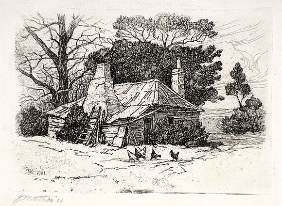 Artist: MATHER, John | Title: Farm house | Date: 1901 | Technique: etching and aquatine, printed in brown ink, from one plate