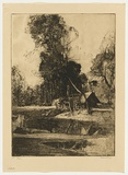 Artist: LONG, Sydney | Title: The camp in the forest | Date: 1920 | Technique: softground-etching, printed in warm black ink, from one plate | Copyright: Reproduced with the kind permission of the Ophthalmic Research Institute of Australia