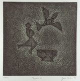 Artist: NEILSON, Janet | Title: Tangram 2 | Date: 1997 | Technique: etching and aquatint, printed in dark green ink, from one plate