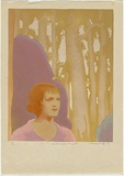 Artist: GRIFFIN, Murray | Title: Rabbit trapper's daughter. | Date: 1936 | Technique: linocut, printed in colour, from multiple blocks