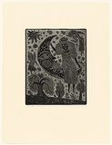 Artist: HANRAHAN, Barbara | Title: Girl and the moon | Date: 1990 | Technique: relief-etching, printed in black ink, from one plate