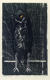 Artist: BUCKLEY, Sue | Title: Bird in the rain. | Date: 1961 | Technique: woodcut, printed in black ink, from one block; hand-coloured | Copyright: This work appears on screen courtesy of Sue Buckley and her sister Jean Hanrahan