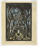 Artist: PRESTON, Margaret | Title: The fountain. | Date: 1932 | Technique: woodcut, printed in black ink, from one block; hand-coloured | Copyright: © Margaret Preston. Licensed by VISCOPY, Australia