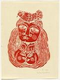 Artist: HANRAHAN, Barbara | Title: not titled | Date: 1960 | Technique: linocut, printed in red ink, from one block