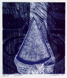 Artist: MARSHALL, Jennifer | Title: Rearlight | Date: 1994 | Technique: woodcut, printed in blue ink, from two blocks