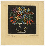 Artist: PRESTON, Margaret | Title: Bowl of native flowers. | Date: 1925 | Technique: woodcut, printed in black ink, from one block; hand-coloured | Copyright: © Margaret Preston. Licensed by VISCOPY, Australia