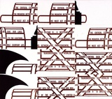 Artist: RAMSDEN, Mel | Title: Fasces. Part II (mosaic of postcards) | Date: 1977 | Technique: lithograph, printed in black ink, from one stone [or plate]