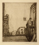 Artist: FRIEDENSEN, Thomas | Title: Artist in his studio. | Date: 1912 | Technique: etching, printed brown ink with plate-tone, from one plate