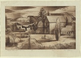 Artist: JACK, Kenneth | Title: Captain Blair's house, Portland | Date: 1954 | Technique: engraving and mezzotint, printed in brown ink with plate-tone, from one copper plate | Copyright: © Kenneth Jack. Licensed by VISCOPY, Australia