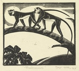 Artist: VOKE, May | Title: Baboons | Date: 1937 | Technique: wood-engraving