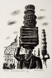 Artist: MISSINGHAM, Hal | Title: London characters, Covent Garden porter. | Date: 1935 | Technique: lithograph, printed in black ink, from one stone [or plate]