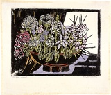 Artist: PRESTON, Margaret | Title: The bowl | Date: c.1935 | Technique: woodcut, printed in black ink, from one block; hand-coloured | Copyright: © Margaret Preston. Licensed by VISCOPY, Australia