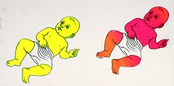Artist: MERD INTERNATIONAL | Title: Poster: (Two babies - pink and yellow) | Date: 1984 | Technique: screenprint