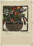 Artist: PRESTON, Margaret | Title: Basket of Australian flowers | Date: 1925 | Technique: woodcut, printed in black ink, from one block; hand-coloured | Copyright: © Margaret Preston. Licensed by VISCOPY, Australia