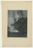 Artist: LONG, Sydney | Title: Moonrise pastoral | Date: 1918 | Technique: aquatint, printed in sepia ink, from one copper plate | Copyright: Reproduced with the kind permission of the Ophthalmic Research Institute of Australia