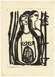 Artist: HANRAHAN, Barbara | Title: Lovers with a birdcage | Date: 1960 | Technique: lithograph, printed in black ink, from one stone