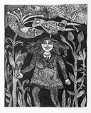 Artist: HANRAHAN, Barbara | Title: Girl in a forest | Date: 1983 | Technique: etching, printed in black ink with plate-tone, from one plate