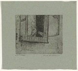 Artist: WILLIAMS, Fred | Title: Feeding the pigeon | Date: 1955-56 | Technique: etching, aquatint, rough biting, engraving, drypoint, printed in black ink, from one zinc plate | Copyright: © Fred Williams Estate