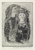 Artist: HANRAHAN, Barbara | Title: Lovers | Date: 1960 | Technique: etching and aquatint, printed in black ink, from one plate