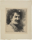 Artist: MENPES, Mortimer | Title: The great man ... monocole left eye | Date: c.1892 | Technique: drypoint, printed in black ink, from one plate