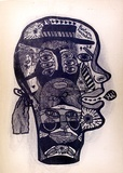 Artist: HANRAHAN, Barbara | Title: Head | Date: 1966, October | Technique: lithograph, printed in blue, with plate-tone from one plate