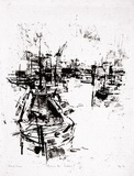 Artist: GRIEVE, Robert | Title: Around the harbour | Date: 1959 | Technique: lithograph, printed in black ink, from one hard-grained aluminium plate