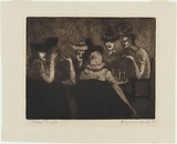Artist: HICK, Jacqueline | Title: Ladies lounge | Date: 1947 | Technique: aquatint and etching, printed in brown ink with plate-tone, from one plate