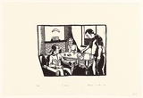 Artist: CARRINGTON, Berenice | Title: A beer | Date: 1991 | Technique: linocut, printed in black ink, from one block