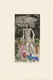 Artist: HANRAHAN, Barbara | Title: Moon girl | Date: 1990 | Technique: etching, printed in black ink with plate-tone, from one plate; hand-coloured