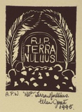 Artist: JOSE, Ellen | Title: R.I.P. terra nullius | Date: 1995, December | Technique: linocut, printed in black ink, from one block