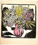 Artist: PRESTON, Margaret | Title: Native flowers | Date: c.1935 | Technique: woodcut, printed in black ink, from one block; hand-coloured | Copyright: © Margaret Preston. Licensed by VISCOPY, Australia