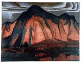 Artist: GRIFFIN, Murray | Title: Burning mountain | Date: 1966 | Technique: linocut, printed in colour, from multiple blocks