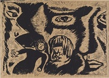Artist: MAULDAY, Erin | Title: Faces | Date: 1994 | Technique: linocut, printed in black ink, from one block