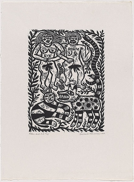 Artist: HANRAHAN, Barbara | Title: Adam and Eve | Date: 1988 | Technique: linocut, printed in black ink, from one block