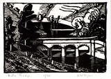 Artist: SYME, Eveline | Title: Bulla Bridge | Date: 1934 | Technique: wood-engraving, printed in black ink, from one block